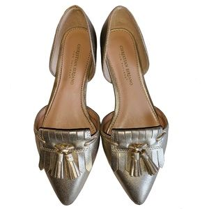 Christian Siriano gold pointed toe loafers - 8